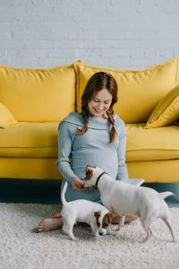 Pregnant Woman with Dogs